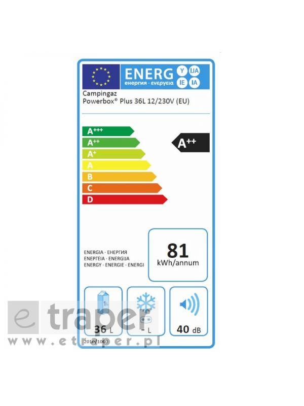 Dane techniczne chłodziarki elektrycznej Campingaz Powerbox Plus 36l