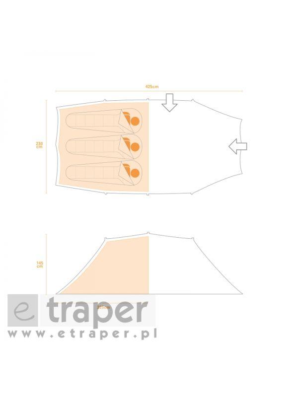 Rozmieszczenie i wymiary namiotu Vester