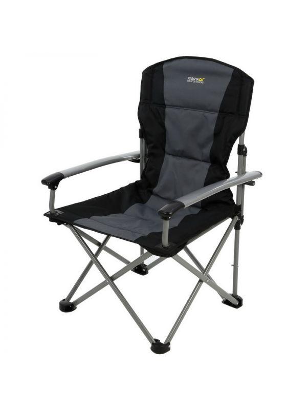 Mocne czarne składane krzesło turystyczne Regatta Forza