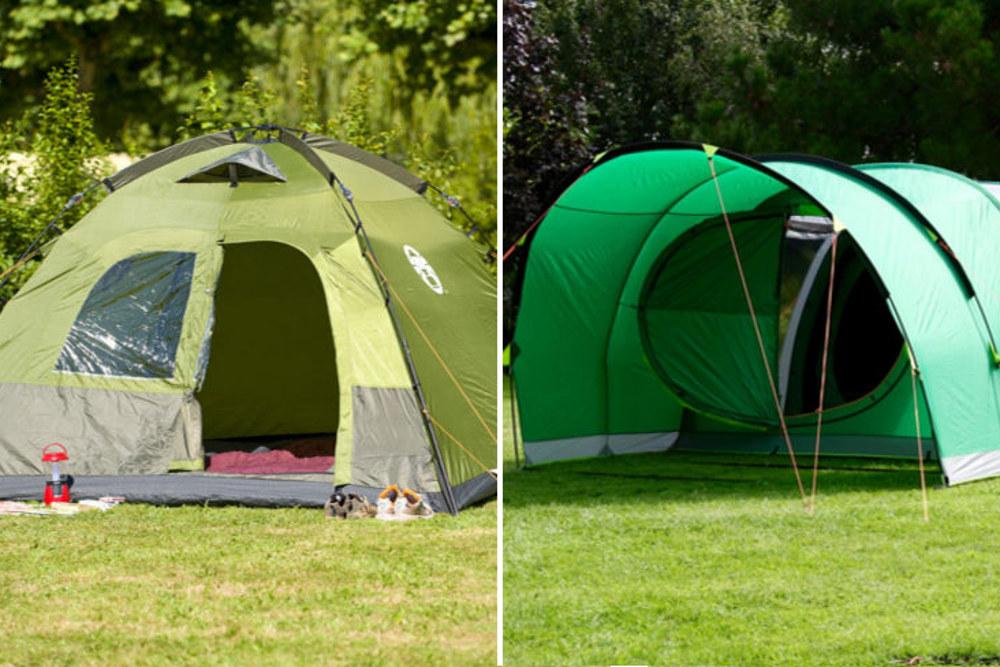 Po lewej obszerny namiot kopułowy Dome 5, dzięki wstępnie połączonemu stelażowi rozkłada się w minutę. Po prawej innowacyjna konstrukcja namiotu serii Valdes FastPitch Air. Zamiast tradycyjnego stelaża zastosowano w nim pompowane tuby.
