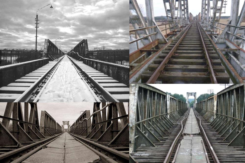 Most kolejowy nad Odrą w pobliżu wsi Stany