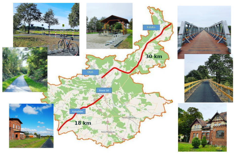 Plan ścieżki rowerowej przez powiat nowosolski - Kolej na rower