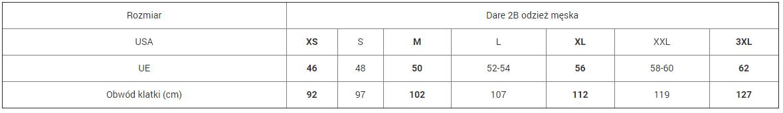 Tabela rozmiarów odzieży Dare 2b